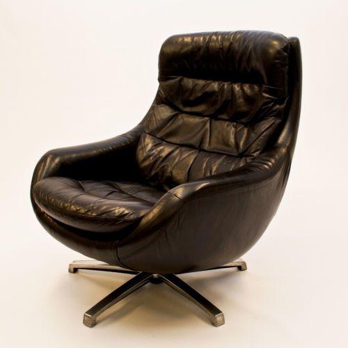 Danish Large Swivel Leather Lounge Egg Chair - Vintage Retro Mid Century