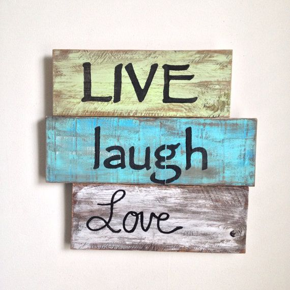 Live, Laugh, Love - Wood Sign Painted on Reclaimed Wood on Etsy, $55.00