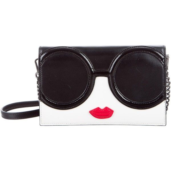 Pre-owned Alice + Olivia Stace Face Crossbody Bag ($195) ❤ liked on Polyvore featuring bags, handbags, shoulder bags, black, crossbody purses, handbags crossbody, leather crossbody purse, crossbody shoulder bag and purse crossbody