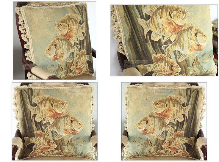 Пара Обюссон гобелен Подушка античный Декор Морская рыба валик свободный корабль   на eBay