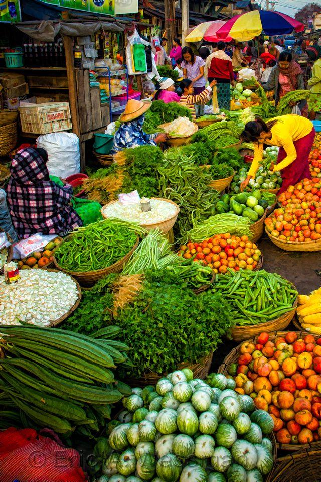 Colorful scene in market. Hpa-An, Myanmar (Burma).