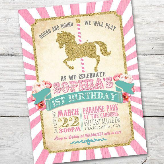 Invitación del cumpleaños del carrusel carrusel por partymonkey