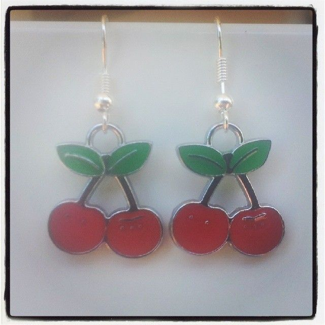 Silver with Red Cherry Earrings $5 Aust. From Rags To Bags on FaceBook.
