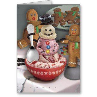 Ice Cream Snowman Card