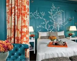 Split-Complementary: The blue walls, and mixture of red-orange and yellow-orange in this room create a split-complementary color scheme. This room has a relaxing but upbeat feelin.