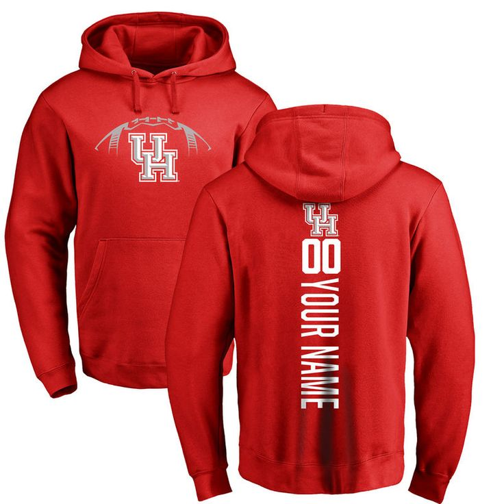 Houston Cougars Football Personalized Backer Pullover Hoodie - Red