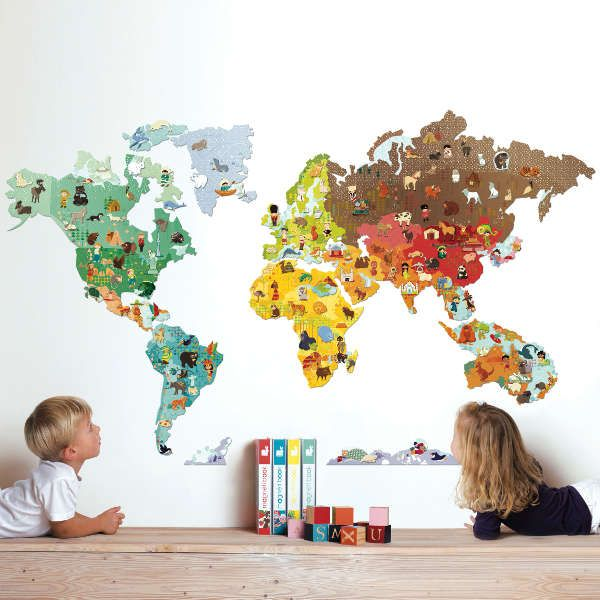 magnetic world map wall sticker with magnetic animals | portrait