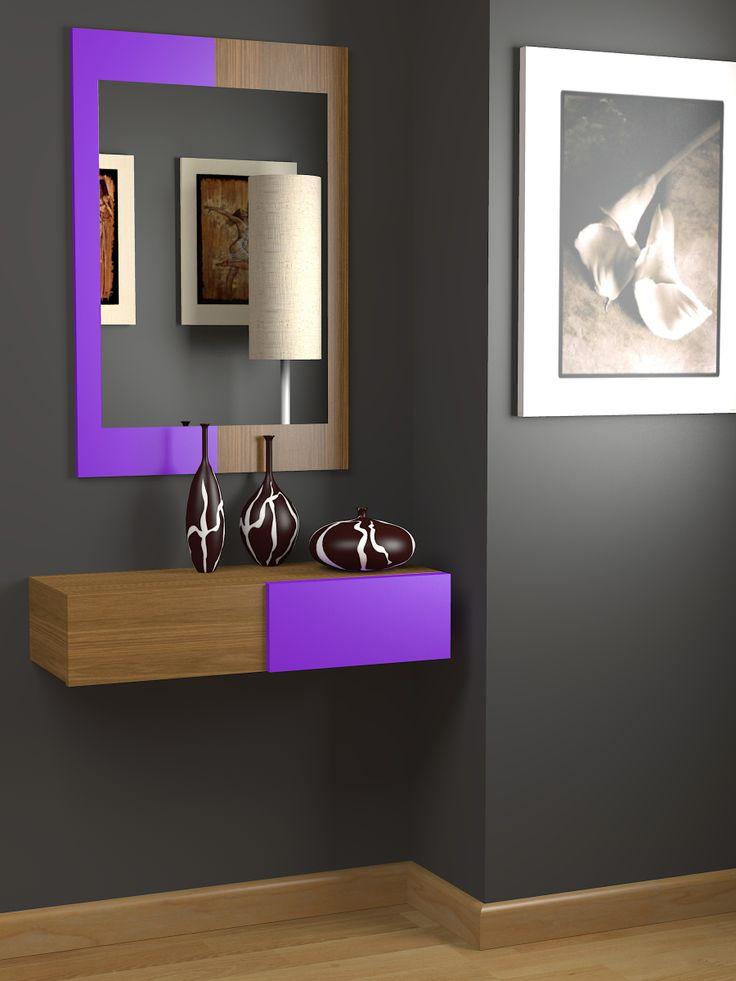 Recibidor a medida moderno, acabado mixto en lacado y chapa de madera natural, color a elegir. onlinemuebles.com