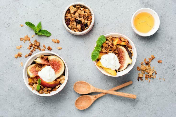 Figs with yogurt and honey granola by The baking man on Creative Market - #baking #creative #granola #honey #market -