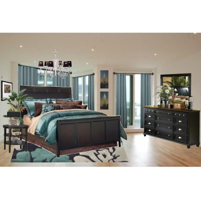 Teal and Brown Bedroom via Polyvore created by Fabulousfashionz