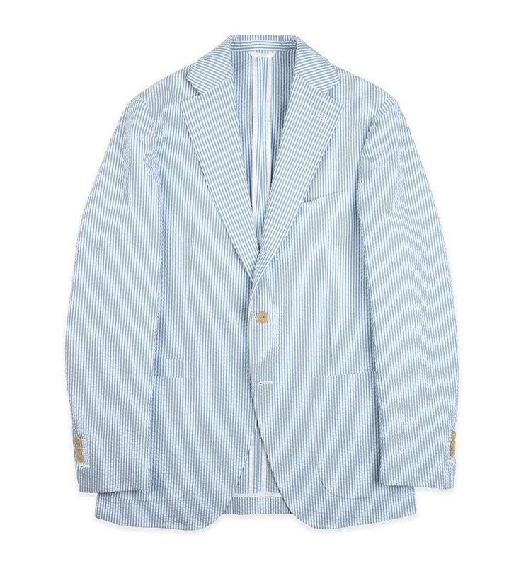 Single-Breasted Blue/White Stripe Cotton Seersucker Jacket - Tailoring - Apparel