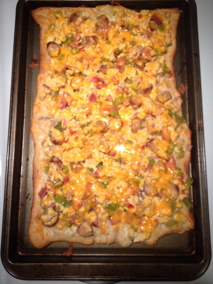 Breakfast pizza!! - pillsbury croissants, light cream cheese layer on the crust, scrambled eggs, sausages and whatever meat u want, veggies and top it all of with cheese!!! Delicious!!!