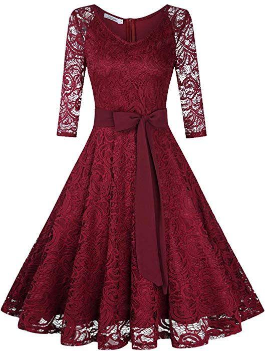 Kojooin Damen Vintage Kleid Brautjungfernkleid Knielang Langarm Spitzenkleid Cocktailkleid Bordeaux Weinrot S Amazon De Bekleidung Elegante Abendkleider Spitzenkleider Und Kleider Damen