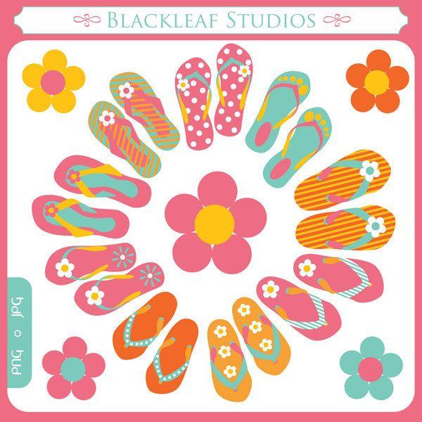 Summery Beach Flip Flops - beach wear,flip flop footwear, floral flip flops, bright flip flops - Personal and Commercial Use Clip Art. $5.00, via Etsy.