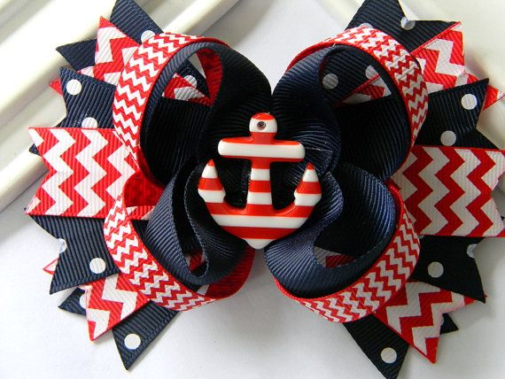 Girls Nautical Boutique Hair Bow  Anchor Hair Bow by Avabowtiquee