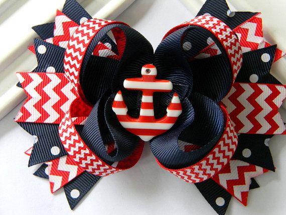 Girls Nautical Boutique Hair Bow  Anchor Hair Bow by Avabowtiquee