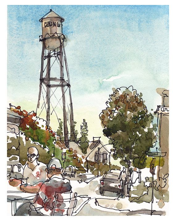 Water Tower, Campbell, California, Watercolor sketch