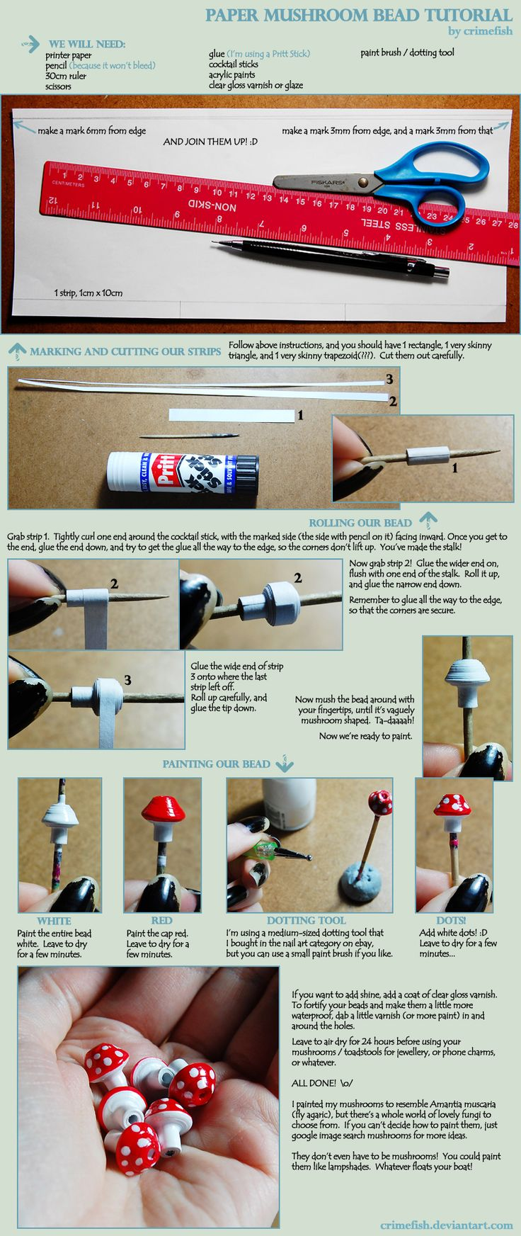 Cuentas setas de papel / Paper mushroom beads