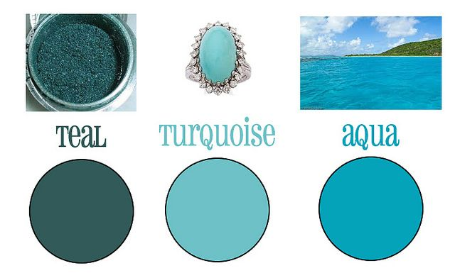 Teal vs turquoise vs aqua by thecraftyblackbird via - Is turquoise green or blue ...