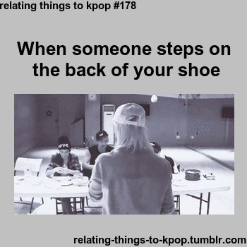 That awkward moment you meet eyes with the person who stepped on the back of your shoe....Ren of NU'EST
