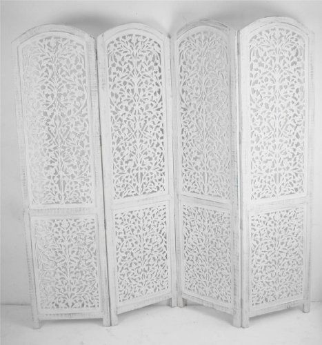 4 Panel Hand Carved Indian Screen Wooden Screen Divider Kashmeri Jali  177x183cm , Http:/