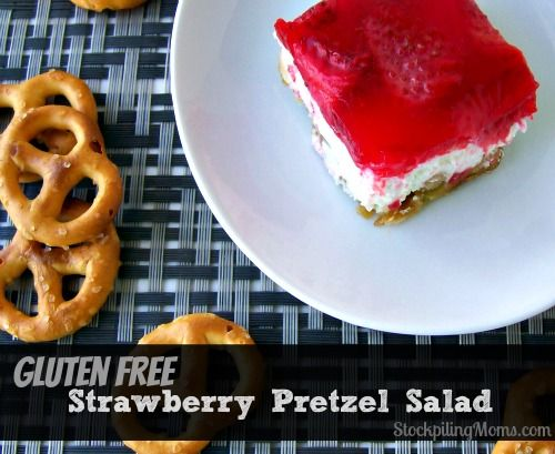 Gluten Free Strawberry Pretzel Salad. Yes! I don't have to give up all the good stuff!