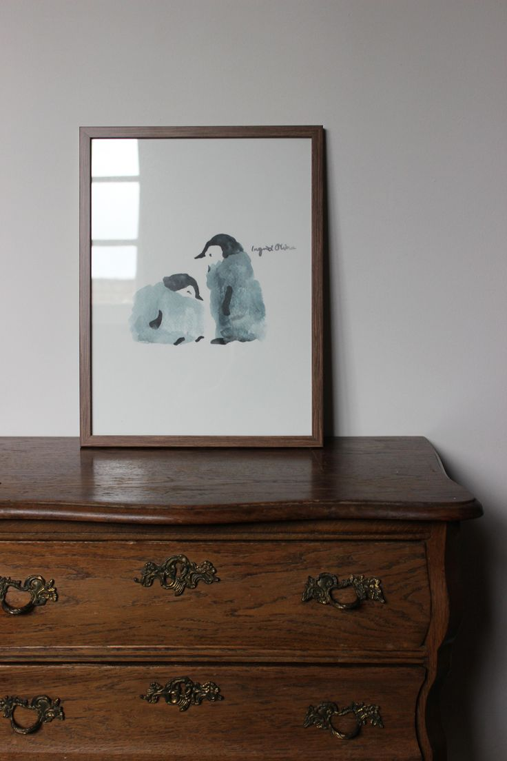 www.ingridoline.com   Penguin print, made by Ingrid Oline.   Elephant, art, love, elefant, animal, painting, gouach, giraffe, sketch, print, etsy, pro, talent, realistic, cartoon, frame, bolia, brown, penguins
