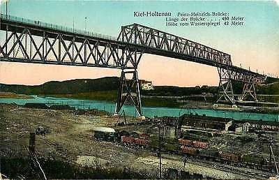 Kiel Holtenau Germany 1908 Prince Heinrich Bridge Canal Antique Vintage Postcard