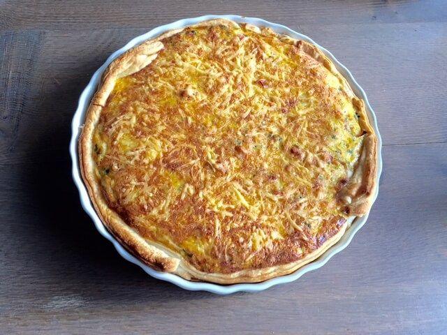 Hartige ham/kaas taart van de Allerhande, makkelijk gerecht, lusten de kinderen ook
