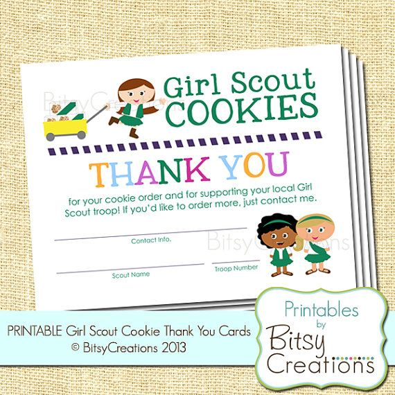Girl Scout Cookie Thank You Printable Cards Cute Idea Great Way