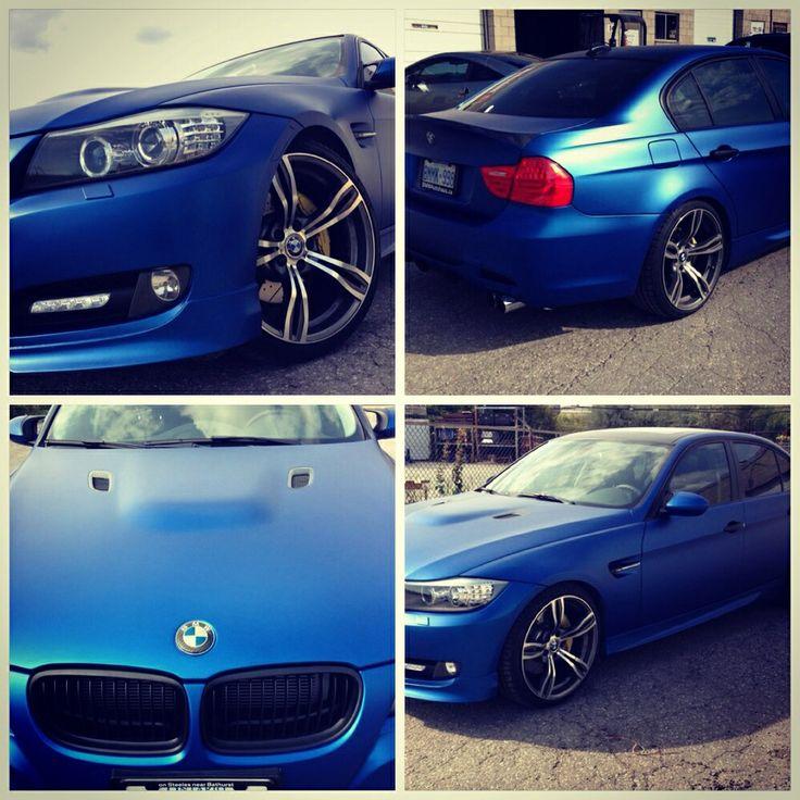 BMW E90 wrapped in Matte Blue by GTA CAR WRAP. 647.949494