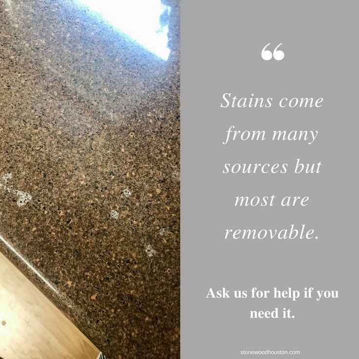 The key to success is cleaning up any spills and treating any resulting stains as soon as you can. Understanding the source of the stain will help in determining the best treatment.  713-306-8643 www.stonewoodhouston.com  #stone #wood #surfaces #cleaning #installation #restoration #floor #recoating #sealing #honed #polish #groutcolor #services #marble #limestone #travertine #terrazzo #concrete #ceramic #porcelain #slate #countertops #saltillo #stonewood #houston #texas