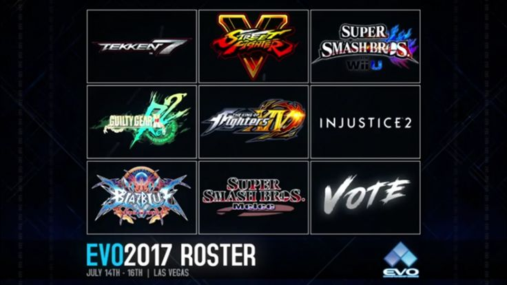 EVO 2017 to include Street Fighter V King of Fighters XIV Injustice 2 and Tekken 7   The lineup for this years Evolution Championship series has been revealed. Mike Ross and Joey Mr. Wizard Cuellarannounced that EVO 2017 will feature nine different titles but only eight were revealed.  Tekken 7  Street Fighter V  Super Smash Bros. for Wii U  Guilty Gear Xrd Rev 2  The King of Fighters XIV  Injustice 2  BlazBlue: Central Fiction  Super Smash Bros. Melee  So what about the ninth slot? It was…
