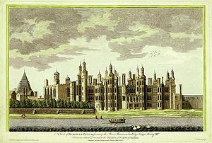 Richmond Palace from SW, 1765 engraving by James Basire, 'based on an earlier drawing'.  Essentially as built by Henry VII in 1501, it was a favourite of Elizabeth I.  She died there in 1603.  Elizabeth had been imprisoned here during the reign of her sister Mary I.