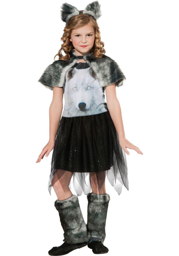 Kids Twilight Wolf Costume, Girl Werewolf Fancy Dress - Child Halloween Costumes at Escapade