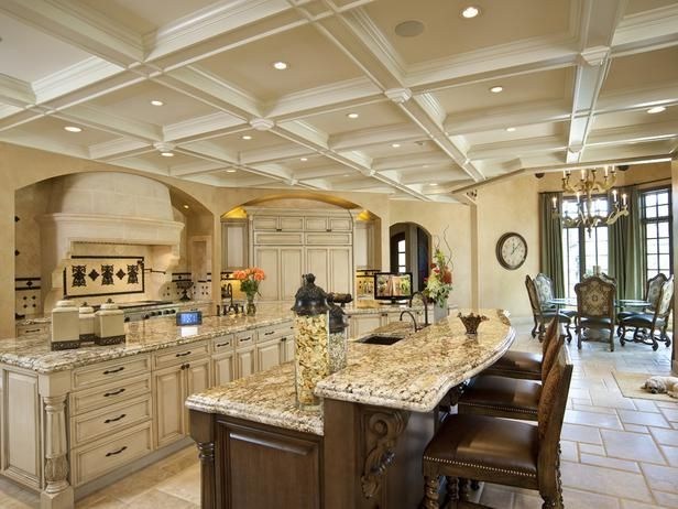 Work of Art Kitchen: Coffered ceilings add drama to this kitchen's subtle Arabian-influenced design, while a touchscreen enables control over the whole homeBeautiful Kitchens, Dreams Kitchens, Luxury Kitchens, Kitchens Dining, Dreams House, Finish Basements, Kitchens Counter, Ceilings, Families Holiday