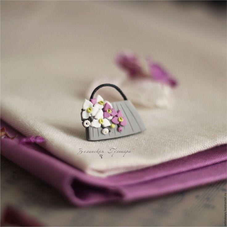 Купить Сумочка с орхидеями. Брошь - розовый, белый, серый, брошь с цветами, цветочная брошь, орхидея