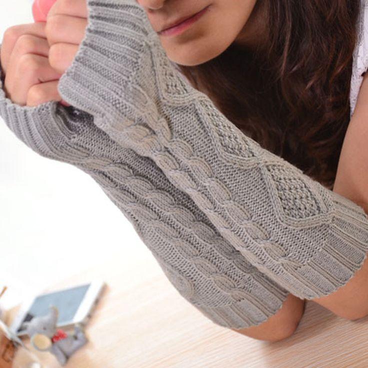 1ペアファッション秋冬春暖かい女性レディース女の子固体手袋アームウォーマーロング指なし編みウールミトン