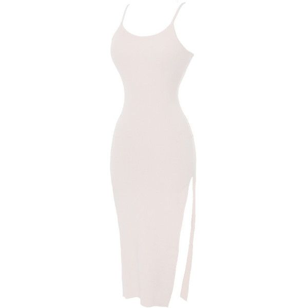 Emprada Payton Nude High Slit Dress ❤ liked on Polyvore featuring dresses, night out dress, holiday party dresses, high slit dress, going out dresses, party dresses and day party dresses