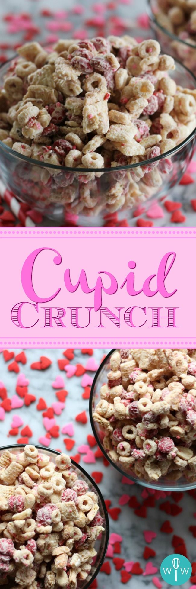 Cupid Crunch - An addictively sweet, crunchy, easy-to-make snack mix recipe made with Cheerios, Rice Chex, M&Ms, peanuts, graham crackers, and vanilla chips all smothered in a vanilla candy coating. | www.worthwhisking.com