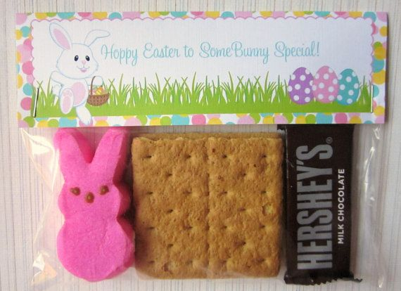 So cute and easy!: Cute Ideas, Easter Bunnies, Bags Toppers, Bunnies Smore, Easter Bunny, Classroom Ideas, Bunnies S More, Easter Ideas, Kid