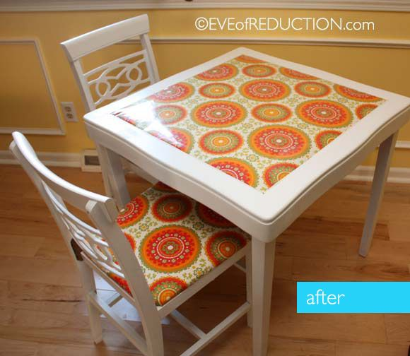 To bring this classic vintage card table back to life, but keep it's retro furniture flare, I laminated funky fabric to redo the table top vinyl