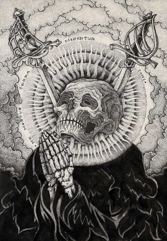Ivan Meshkov, an artist based in Chelyabinsk, Russia, used pencil and ink to create moody, hyperdetailed works often adorned with skulls, squids, and other iconography often found in tattoo culture…