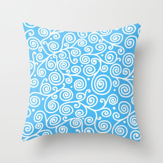 White tendrils Throw Pillow