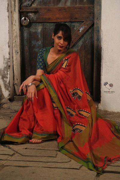Orange Olive Green Kala Ghoda Bengal Cotton Saree                              …