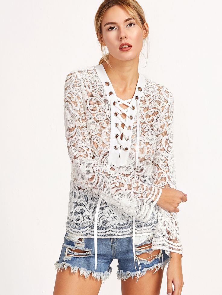 Shop White Eyelet Lace Up Bell Sleeve Lace Blouse online. SheIn offers White Eyelet Lace Up Bell Sleeve Lace Blouse & more to fit your fashionable needs.