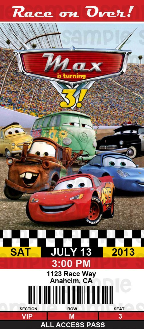 Disney Cars Lightning McQueen Ticket Birthday Invitation $11