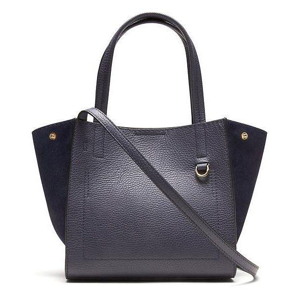 Banana Republic Pebbled Italian Leather Mini Tote ($168) ❤ liked on Polyvore featuring bags, handbags, tote bags, navy, navy leather tote, tote handbags, navy blue leather handbags, structured tote and leather tote