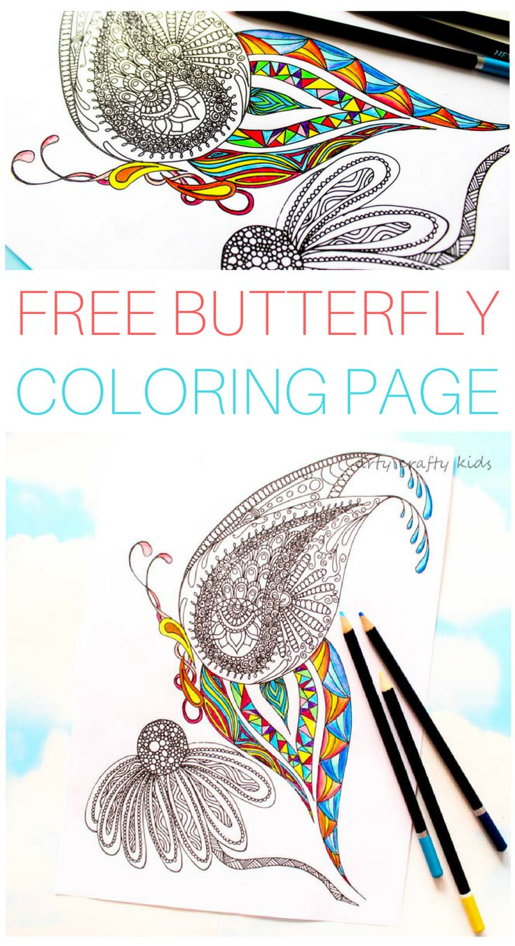 The zoology coloring book - Arty Crafty Kids Free Coloring Page Detailed Butterfly Coloring Page