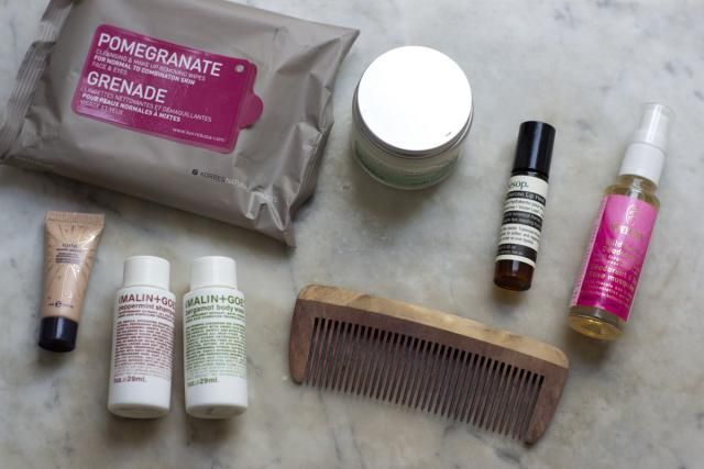 HS: I bring two small Malin + Goetz bottles of shampoo and carry a comb instead of a brush. I'm addicted to Korres Pomegranate Wipes; I use them to cleanse at the end of the day and to freshen up after a flight. Other essentials: Boots Face Renewal Creme from the Botanics line, Aesop Tuberose Lip Heal, and Welda Wild Rose Deodorant.